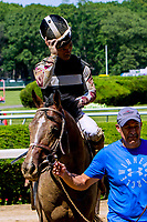 NEW YORKT, NY - JUNE 09  He Hate Me, #1 with Ricardo Santana, Jr. wins the Tremont Stakes for 2-year olds, on June 9, 2017 in Elmont, New York.(Photo by Sue Kawczynski/Eclipse Sportswire/Getty Images)