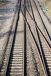 Merging tracks on rail line at Woodborough, Wiltshire, England, UK