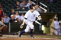Empire State Yankees second baseman Corban Joseph #1 hits a solo home run during game four of a best of five playoff series against the Pawtucket Red Sox at Frontier Field on September 8, 2012 in Rochester, New York.  Pawtucket defeated Empire State 7-1 to advance to the International League Finals.  (Mike Janes/Four Seam Images)