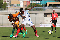 Ike Ugbo of England tries to shake off an opponent during England Under-18 vs Ivory Coast Under-20, Toulon Tournament Final Football at Stade de Lattre-de-Tassigny on 10th June 2017