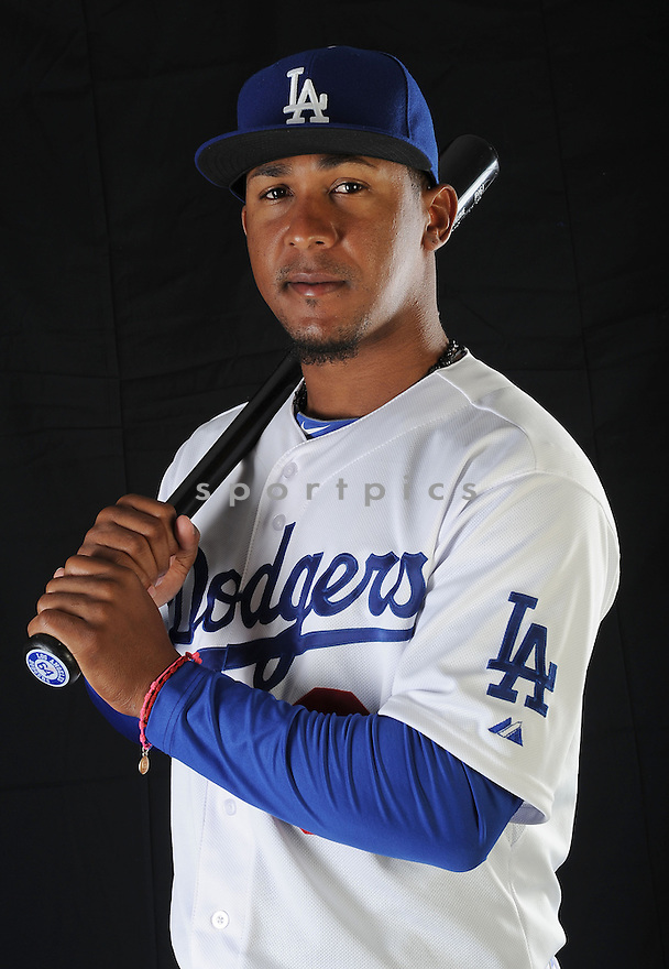 LA Dodgers Ozzie Martinez (64) at media photo day on February 17, 2013 during spring training in Glendale, AZ.