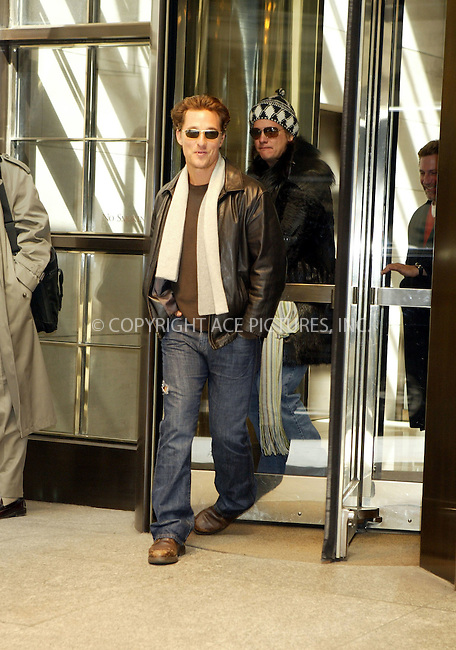 "WWW.ACEPIXS.COM . . . . . ....March 8 2006, New York City....**EXCLUSIVE-FEE MUST BE AGREED BEFORE USE**....Actor Matthew McConaughey had a very busy day in Manhattan promoting his new movie ""Failure to Launch"" with Sarah Jessica Parker. He spent the day being driven from one television show to another, changing his clothes between each appearance. He was chatty and friendly with fans and even started joking with our photographer.........Please byline: JENNIFER L GONZELES-ACEPIXS.COM.... *** ***..Ace Pictures, Inc:  ..Philip Vaughan (212) 243-8787 or (646) 769 0430..e-mail: info@acepixs.com..web: http://www.acepixs.com"