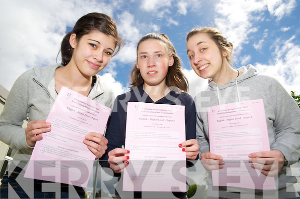 Pictured after English Paper 1 of the leaving Cert  in Killarney Community College on Wednesday were Ashley Robson, Marie McGillicuddy and Sophia O'Shea.....ASHLEY ROBSON:..Yea, very happy with the first paper, everything going well so far.....................
