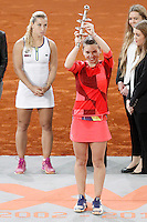 Simona Halep, Roumania, celebrates the victory in the Madrid Open Tennis 2016 Final match in presence of Slovakia's Dominika Cibulkova, Finalist .May, 7, 2016.(ALTERPHOTOS/Acero)a /NortePhoto.com