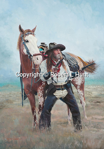 "Cowboy pulls his pistols ready for a shoot out in the American Wild West, while his paint horse looks on. Oil on canvas, 24 x 17""."