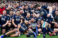 The Royal Navy celebrate with the Inter Services Cup. Babcock Inter-Services Championship match between the British Army and the Royal Navy on April 30, 2016 at Twickenham Stadium in London, England. Photo by: Patrick Khachfe / Onside Images