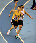10th February 2019, Arena Birmingham, Birmingham, England; Spar British Athletics Indoor Championships; Jamie Webb competes in the men's 800m in which he was subsequently disqualified during Day Two of the Spar Indoor Athletics Championships at Birmingham Arena