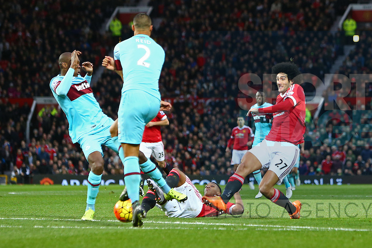 Marouane Fellaini of Manchester United strikes at goal - Manchester United vs West Ham United - Barclay's Premier League - Old Trafford - Manchester - 05/12/2015 Pic Philip Oldham/SportImage