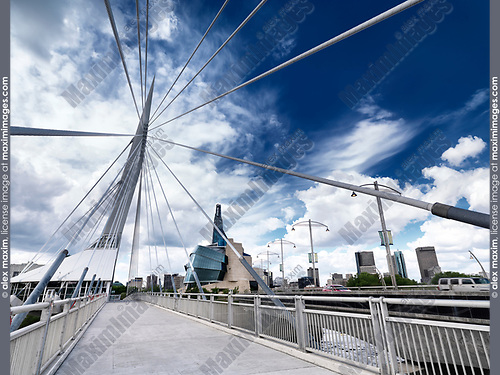 Esplanade Riel Footbridge with beautiful blue sky and the Canadian Museum for Human Rights in the background. Winnipeg, Manitoba, Canada 2017.