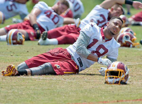 Washington Redskins wide receiver Josh Doctson (18), who was selected by the team in the first round of the 2016 NFL Draft, participates in an organized team activity (OTA) at Redskins Park in Ashburn, Virginia on Wednesday, June 1, 2016.<br /> Credit: Ron Sachs / CNP/MediaPunch ***FOR EDITORIAL USE ONLY***