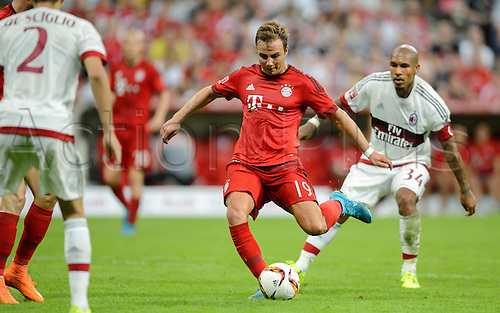 04.08.2015 Munich, Germany. International Audi Cup tournament. Baayern Munich versus AC Milan.  FC Bayern Munich's Mario Goetze in action