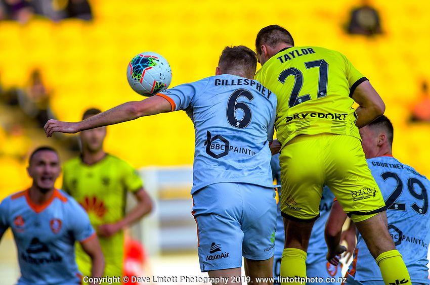 Phoenix's Steven Taylor scores the opening goal during the A-League football match between Wellington Phoenix and Brisbane Roar at Westpac Stadium in Wellington, New Zealand on Saturday, 23 November 2019. Photo: Dave Lintott / lintottphoto.co.nz