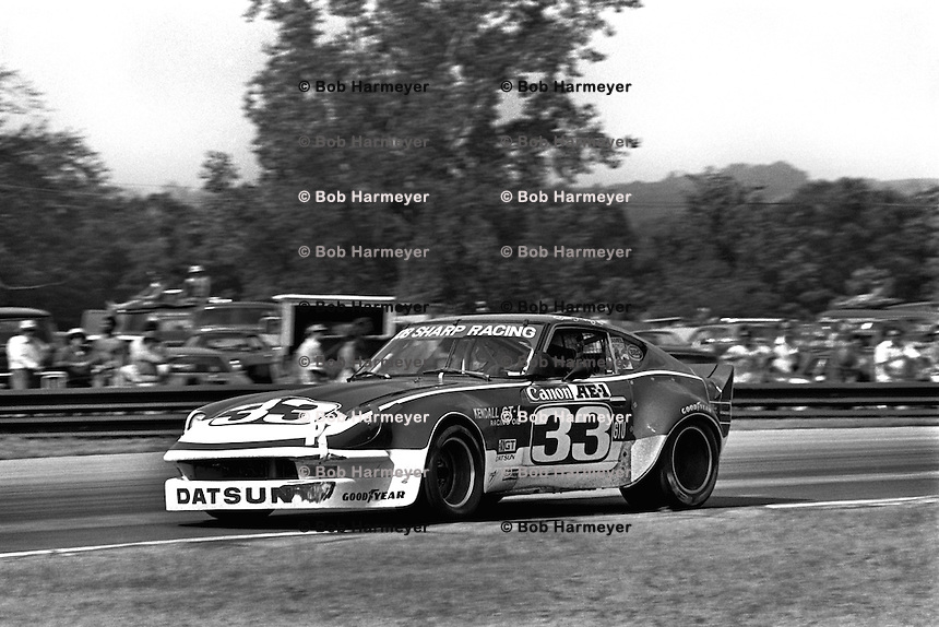 Sam Posey drives a Datsun 260Z during the IMSA Camel GT race at the Mid-Ohio Sports Car Course near Lexington, Ohio, on June 5, 1977. (Photo by Bob Harmeyer)