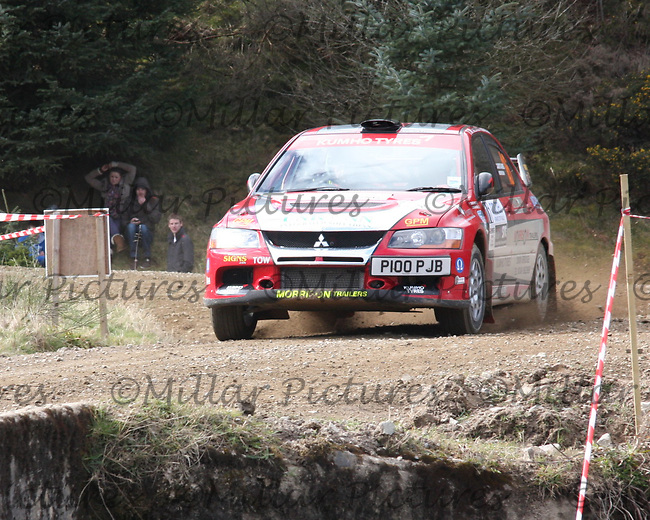 John Morrison / Peter Carstairs in a Mitsubishi Evolution 9 at Junction 3 on John Lawrie Group Special Stage 5 Fettersso 2 of the Coltel Granite City Rally 2012 which was based at the Thainstone Agricultural Centre, Inverurie.