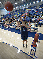 NWA Democrat-Gazette/ANDY SHUPE<br /> Marissa Jentzsch, a member of the Har-Ber High School basketball team, takes a 3-point shot Tuesday, Sept. 18, 2018, on her way to wining the 3-point shooting contest during the first Campaign Tipoff for the United Way of Northwest Arkansas' campaign in Wildcat Arena at Har-Ber High School in Springdale. This year's goal for the agency is approximately $1.8 million