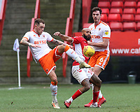 Charlton Athletic's Josh Parker battles between /Blackpool's Harry Pritchard & Ben Heneghan<br /> <br /> Photographer David Shipman/CameraSport<br /> <br /> The EFL Sky Bet League One - Charlton Athletic v Blackpool - Saturday 16th February 2019 - The Valley - London<br /> <br /> World Copyright © 2019 CameraSport. All rights reserved. 43 Linden Ave. Countesthorpe. Leicester. England. LE8 5PG - Tel: +44 (0) 116 277 4147 - admin@camerasport.com - www.camerasport.com