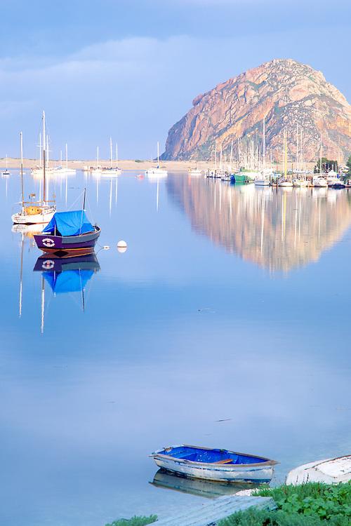 A glassy bay provides serenity at Morro Bay on the California central coast.