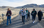 Tour guide Jim Woods, center, leads a group of participants through the IVGID wetlands during the Eagles & Agriculture event on Friday, Jan. 26, 2018 in the Carson Valley.