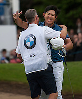 24.05.2015. Wentworth, England. BMW PGA Golf Championship. Final Round. Byeong Hun An [KOR] celebrates the winning putt on the 18th green during the final round of the 2015 BMW PGA Championship from The West Course Wentworth Golf Club. Byeong Hun An [KOR] won the BMW PGA with a score of 21 under par.