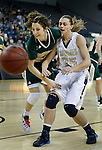 RAPID CITY, SD - FEBRUARY 24, 2016 -- Bailey Kusser #23 of Black Hills State and Devyn Asche #25 of South Dakota Mines chase a loose ball during their college basketball game Wednesday at the Rushmore Plaza Civic Center Ice Arena, S.D.  (Photo by Dick Carlson/Inertia)
