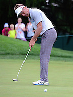 Bethesda, MD - June 24, 2016: Stuart Appleby takes a putt shot on hole 1 during Round 2 of professional play at the Quicken Loans National Tournament at the Congressional Country Club in Bethesda, MD, June 24, 2016.  (Photo by Don Baxter/Media Images International)