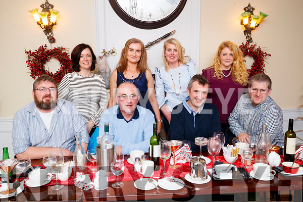 Enjoying a night out at The Denny Lane restaurant, Tralee on Saturday night last were front l-r: Eoin Horgan, John Palmer, Cathal Foley and Ray Lynch. Back l-r: Anne Horgan, Joanne Foley, Denise Lynch and Samantha Palmer.