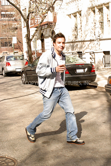 WWW.ACEPIXS.COM . . . . .***EXCLUSIVE!!! FEE MUST BE NEGOTIATED BEFORE USE!!!***....NEW YORK, APRIL 15, 2005....Jimmy Fallon is seen walking in the West Village with a cup of joe.....Please byline: PAUL CUNNINGHAM - ACE PICTURES..... *** ***..Ace Pictures, Inc:  ..Craig Ashby (212) 243-8787..e-mail: picturedesk@acepixs.com..web: http://www.acepixs.com
