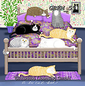 Kate, CUTE ANIMALS, LUSTIGE TIERE, ANIMALITOS DIVERTIDOS, paintings+++++A six cat bed 2.,GBKM591,#ac#, EVERYDAY