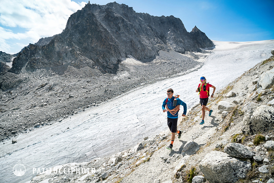 The Chamonix to Zermatt Glacier Haute Route. In late August 2017, we ran the tour in mountain running gear, running shoes, and all the necessary glacier travel and crevasse rescue gear. Running down the trail along the Glacier d'Orny.