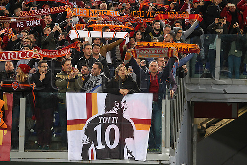 17.02.2016. Stadio Olimpico, Rome, Italy. UEFA Champions League, Round of 16 - first leg, AS Roma versus Real Madrid.  FANS OF AS ROMA