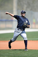 Third baseman Eric Jagielo (34) of the New York Yankees organization during practice before a minor league spring training game against the Toronto Blue Jays on March 16, 2014 at the Englebert Minor League Complex in Dunedin, Florida.  (Mike Janes/Four Seam Images)