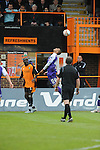 Barnet 1 Rochdale 0, 08/05/2010. Underhill Stadium, League 2. The final game of the season at Underhill. The Bees must beat Rochdale to guarantee their survival. Rochdale are celebrating promotion to League one. A header is won infront of the refreshment hut. Photo by Simon Gill.