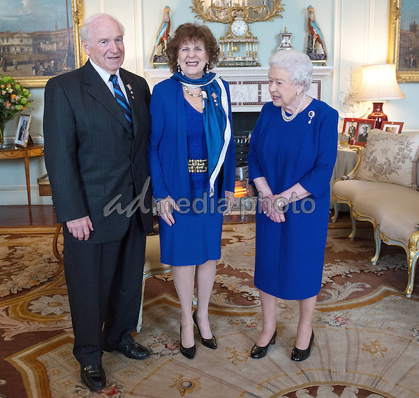 15 March 2016 - London, England - Queen Elizabeth II receives the Lieutenant Governor of Alberta Lois Mitchell and her husband, His Honour Mr Douglas Mitchell at Buckingham Palace in London. Photo Credit: Alpha Press/AdMedia