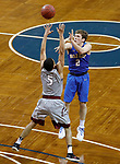SIOUX FALLS, SD - MARCH 9:  Ethan Freidel #2 of Briar Cliff shoots over IU East defender Jacoby Claypool #5 at the 2018 NAIA DII Men's Basketball Championship at the Sanford Pentagon in Sioux Falls. (Photo by Dick Carlson/Inertia)