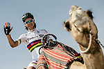 Newly crowned World Champion Peter Sagan (SVK) Tinkoff-Saxo goes for a different type of ride before Stage 1 The ADNOC Stage, of the 2015 Abu Dhabi Tour running 174 km from Qasr Al Sarab to Madinat Zayed, Abu Dhabi. 8th October 2015.<br /> Picture: ANSA/Angelo Carconi | Newsfile