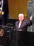 Palestinian President Mahmoud Abbas speaks at the United Nations , in New York, United States on September 26, 2019. Photo by Thaer Ganaim