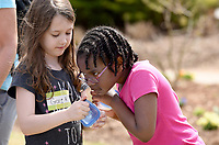 NWA Democrat-Gazette/DAVID GOTTSCHALK  Grace Hughey (left), a kindergarten student at Owl Creek School, and Kinleigh Trussell, a first grade student, smells a scent Wednesday, April 10, 2019, as they participate in the Senses in Nature station during the Fayetteville Public Schools Green Teams Celebration at the Botanical Garden of the Ozark. The celebration for the Green Team members and leaders included an award ceremony, student presentations and a variety of educational stations on the grounds.
