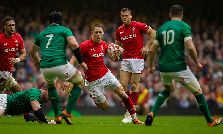 Wales' Liam Williams in action during todays match<br /> <br /> Photographer Bob Bradford/CameraSport<br /> <br /> Guinness Six Nations Championship - Wales v Ireland - Saturday 16th March 2019 - Principality Stadium - Cardiff<br /> <br /> World Copyright © 2019 CameraSport. All rights reserved. 43 Linden Ave. Countesthorpe. Leicester. England. LE8 5PG - Tel: +44 (0) 116 277 4147 - admin@camerasport.com - www.camerasport.com
