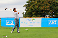 Pat Murphy (Waterford) on the 10th tee during the AIG Jimmy Bruen Shield Final between Lisselan &amp; Waterford in the AIG Cups &amp; Shields at Carton House on Saturday 20th September 2014.<br /> Picture:  Thos Caffrey / www.golffile.ie