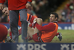 Mike Phillips who was dropped from the starting line up, warms up with the replacements.<br /> RBS 6 Nations 2014<br /> Wales v France<br /> Millennium Stadium<br /> 21.02.14<br /> <br /> &copy;Steve Pope-SPORTINGWALES