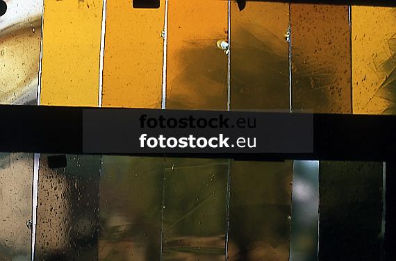 yellow mouth blown glass<br /> <br /> vidrio soplado amarillo<br /> <br /> gelbes mundgeblasenes Glas<br /> <br /> Original: 35 mm slide transparency