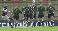 Sport - Rugby 27/04/2002 Parker Pen Shield - Semi-Final.London Irish vs Pontypridd - Kassam Stadium - Oxford.London Irish run out as Ceri Sweeney for Pontypridd converts the opening minutes try,..[Mandatory Credit, Peter Spurier/ Intersport Images].