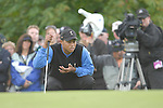 Ryder Cup 206 K Club, Straffan, Ireland..American Ryder Cup team player Tiger Woods lines up his putt on the 3rd green during  the  morning fourballs session of the second day of the 2006 Ryder Cup at the K Club in Straffan, Co Kildare, in the Republic of Ireland, 23 September 2006...Photo: Eoin Clarke/ Newsfile.