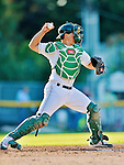 18 August 2012: Vermont Lake Monsters catcher Bruce Maxwell in action against the Brooklyn Cyclones at Centennial Field in Burlington, Vermont. The Lake Monsters defeated the Cyclones 4-1 in NY Penn League action. Mandatory Credit: Ed Wolfstein Photo