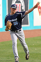 Sammy Solis #25 of the University of San Diego Toreros  throwing in the outfield before a game against the Coastal Carolina University Chanticleers   at Watson Stadium at Vrooman Field in Conway,, SC on March 26, 2010. Photo by Robert Gurganus/Four Seam Images