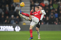 Derby County's Richard Keogh in action with Nottingham Forest's Ben Osborn<br /> <br /> Photographer Mick Walker/CameraSport<br /> <br /> The EFL Sky Bet Championship - Derby County v Nottingham Forest - Monday 17th December 2018 - Pride Park - Derby<br /> <br /> World Copyright © 2018 CameraSport. All rights reserved. 43 Linden Ave. Countesthorpe. Leicester. England. LE8 5PG - Tel: +44 (0) 116 277 4147 - admin@camerasport.com - www.camerasport.com