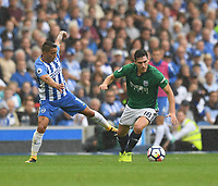 Brighton &amp; Hove Albion's Anthony Knockaert (left) battles with West Bromwich Albion's Gareth Barry (right) <br /> <br /> Brighton 3 - 1 West Bromwich<br /> <br /> Photographer David Horton/CameraSport<br /> <br /> The Premier League - Brighton and Hove Albion v West Bromwich Albion - Saturday 9th September 2017 - The Amex Stadium - Brighton<br /> <br /> World Copyright &copy; 2017 CameraSport. All rights reserved. 43 Linden Ave. Countesthorpe. Leicester. England. LE8 5PG - Tel: +44 (0) 116 277 4147 - admin@camerasport.com - www.camerasport.com