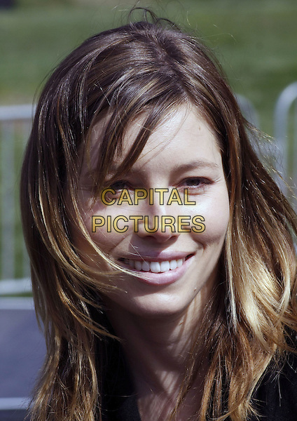 "JESSICA BIEL .""Last Chance for Change"" Rally and Canvas Kick-off with Justin Timberlake held at the Clark County Amphitheater, Las Vegas, Nevada, USA, .11 October 2008.portrait headshot brunette brown hair fringe side swept no make-up smiling .CAP/ADM/MJT.©MJT/Admedia/Capital Pictures"