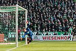 13.04.2019, Weserstadion, Bremen, GER, 1.FBL, Werder Bremen vs SC Freiburg<br /> <br /> DFL REGULATIONS PROHIBIT ANY USE OF PHOTOGRAPHS AS IMAGE SEQUENCES AND/OR QUASI-VIDEO.<br /> <br /> im Bild / picture shows<br /> Tor 2:0, Theodor Gebre Selassie (Werder Bremen #23) (nicht im Bild) k&ouml;pft ein zum 2:0 gegen Alexander Schwolow (SC Freiburg #01), <br /> <br /> Foto &copy; nordphoto / Ewert