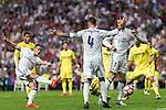 Real Madrid's Lucas Vazquez Sergio Ramos Cristiano Ronaldo during the match of La Liga between Real Madrid  and Villarreal Club de Futbol at Santiago Bernabeu Estadium in Madrid. September 21, 2016. (ALTERPHOTOS/Rodrigo Jimenez)